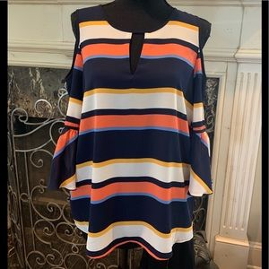 Karl Lagerfeld striped cold-should blouse.